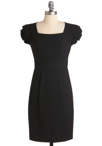 Awe-structure Dress by Max and Cleo - Mid-length, Black, Solid, Pleats, Sheath / Shift, Work, Party, Short Sleeves