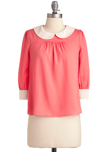 Seen in Style Top - Pink, Solid, Peter Pan Collar, Work, Vintage Inspired, 3/4 Sleeve, White, Buttons, 60s, Mid-length, Sheer, Coral, Collared