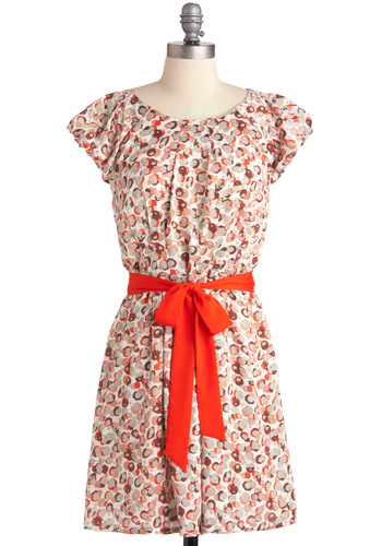 Party Planet Dress - Mid-length, Print, Shift, Cap Sleeves, Multi, Orange, Tis the Season Sale