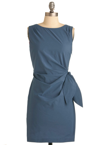 Ocean of Style Dress - Mid-length, Blue, Solid, Sheath / Shift, Party, Vintage Inspired, Sleeveless
