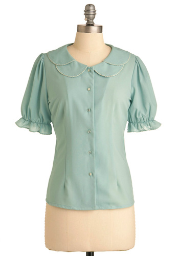 Gentle Beauty Top by Miss Patina - Mid-length, Work, Vintage Inspired, Green, Solid, Buttons, Ruffles, Short Sleeves, Peter Pan Collar, Scallops, 60s, Spring