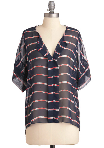 Live Streaming Top - Mid-length, Blue, Red, White, Stripes, Casual, Nautical, Short Sleeves
