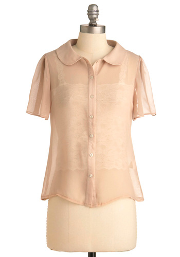 Soy Good to See You Top by Miss Patina - Mid-length, Pink, Solid, Peter Pan Collar, Work, Short Sleeves, Buttons