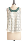 Forest Place Top - Mid-length, Cream, Green, Bows, Lace, Vintage Inspired, Sleeveless, Floral, Pleats, Work