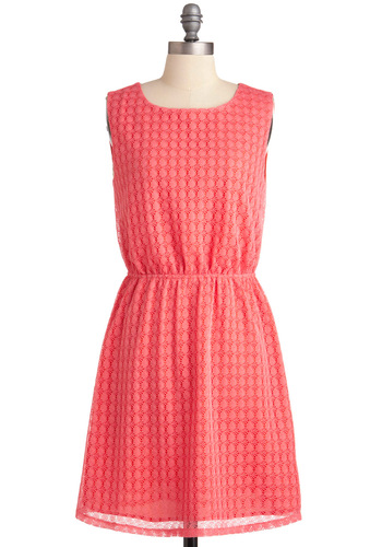 Papaya Just Love It Dress - Mid-length, Pink, Lace, A-line, Crochet, Party, Sleeveless, Coral