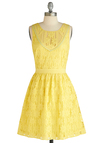Traipsing Through the Tulips Dress - Mid-length, Party, Yellow, Lace, Trim, A-line, Sleeveless, Spring, Fit & Flare, Tis the Season Sale