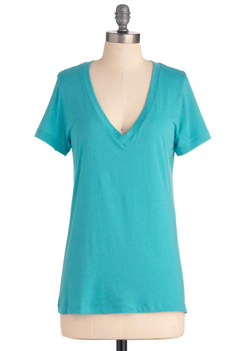 Everyday Venus Tee in Aquamarine - Blue, Solid, Casual, Short Sleeves, Summer, Mid-length, V Neck