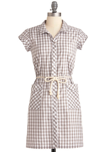 The Gang's All Here Dress in Gingham by Dear Creatures - Mid-length, Checkered / Gingham, Buttons, Pockets, Shirt Dress, Short Sleeves, Casual, Vintage Inspired, Grey, White, Woven, Spring