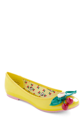 Yellow Kitty Flat - Yellow, Red, Green, Solid, Casual, Kawaii, Fruits