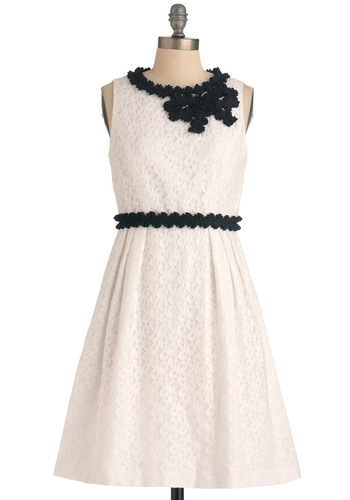Cello Again Dress - White, Black, Lace, Trim, A-line, Sleeveless, Formal, Wedding, Vintage Inspired, 60s, Ruffles, Mid-length