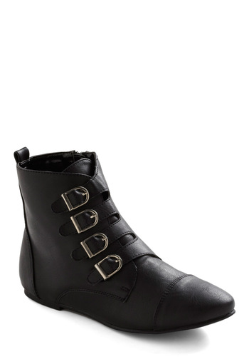 Light Painting Boots - Black, Solid, Buckles, Casual