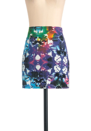 Watercolor Palette Skirt by Motel - Short, Multi, Urban, Blue, Purple, Pink, Tie Dye