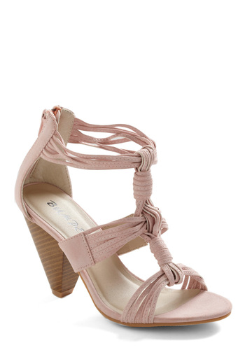 The Girl with Everything Heel - Pink, Solid, Exposed zipper, Woven, Party, Summer