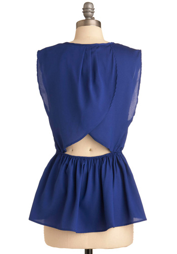 Coral Coasts Top in Blue - Blue, Solid, Ruffles, Party, Sleeveless, Blue, Mid-length