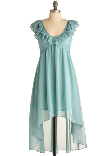 Something Blue Dress - Mid-length, Solid, Ruffles, Empire, Cap Sleeves, Wedding, Vintage Inspired, Blue, Pastel, Sheer, High-Low Hem, V Neck, Daytime Party, Prom, Bridesmaid