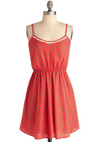 Hop Dots Dress - Short, Red, Print with Animals, Spaghetti Straps, Casual, Multi, Lace, Ruffles