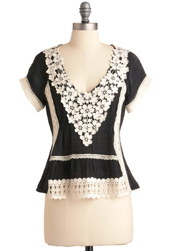 Ukulele and Me Top - Black, Solid, Casual, Boho, Short Sleeves, White, Crochet, Mid-length, Steampunk, Sheer, V Neck