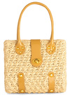 Sightseeing in Savannah Bag - Casual, Vintage Inspired, 50s, 60s, Tan, Multi, Buckles, Studs, Woven