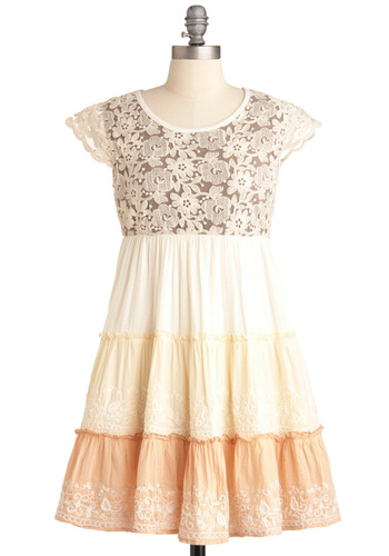 Family Photoshoot Dress - Short, Orange, Lace, Ruffles, Empire, Cap Sleeves, Casual, Tan