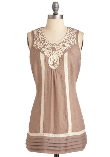 Atta Swirl Tunic - Long, Solid, Tiered, Casual, Sleeveless, Boho, Tan, White, Crochet