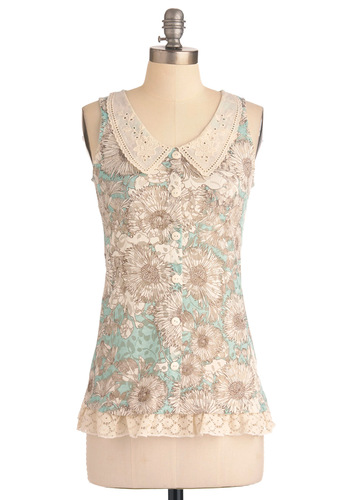 Pressed Dressed Top - Floral, Peter Pan Collar, Casual, Vintage Inspired, Sleeveless, Green, Tan / Cream, Eyelet, Lace, Buttons, Mid-length