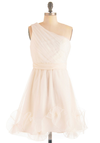 Confectionery Perfection Dress by Max and Cleo - Mid-length, White, Solid, A-line, One Shoulder, Formal, Wedding, Vintage Inspired, Ruffles