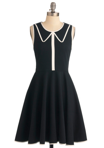 Just Collar on Me Dress - Mid-length, Black, White, Solid, A-line, Sleeveless, Vintage Inspired, Trim, Work
