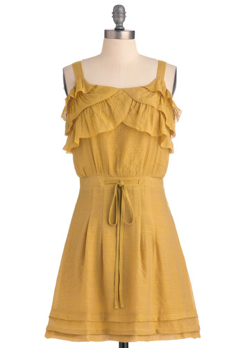 You're Goldenrod Dress - Mid-length, Casual, Yellow, Ruffles, Tank top (2 thick straps)