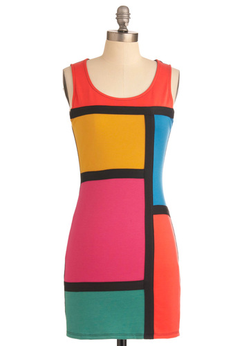 Graphic Jam Dress - Short, Statement, Orange, Yellow, Green, Pink, Vintage Inspired, Shift, Tank top (2 thick straps), Neon, Bodycon / Bandage, Colorblocking