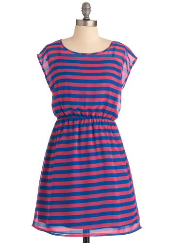 Meet Me in the Caf - Mid-length, Blue, Stripes, Shift, Casual, Pink, Cap Sleeves, Sheer