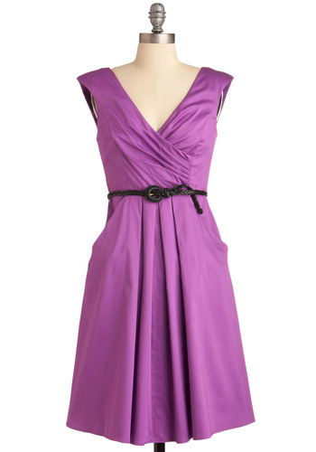 Occasion by Me Dress in Violet - Purple, Solid, Braided, Pleats, Pockets, Sheath / Shift, Cap Sleeves, Long, Wedding, Party, Belted, Cocktail, Cotton, V Neck