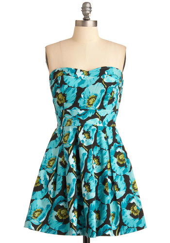 Bouquet of Style Dress - Blue, Black, Floral, Pleats, A-line, Strapless, Party, Yellow, Mid-length, Beach/Resort, Cotton, Variation, Graduation