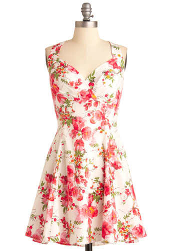 You Are Cherry Welcome Dress in Blossoms - Mid-length, Casual, Vintage Inspired, Yellow, Green, Pink, Floral, Pleats, A-line, Tank top (2 thick straps), Multi, Spring, Fit & Flare