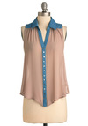 Go for a Spin Top - Mid-length, Casual, Vintage Inspired, 80s, Tan, Blue, Buttons, Sleeveless, Solid