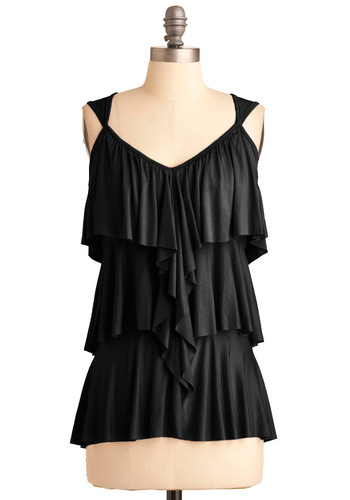 Ruffling It Top in Black - Black, Solid, Ruffles, Tiered, Casual, Tank top (2 thick straps), Mid-length