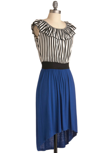 UK by Me Dress - Mid-length, Blue, Black, White, Stripes, Ruffles, Sleeveless, Casual, Sheath / Shift
