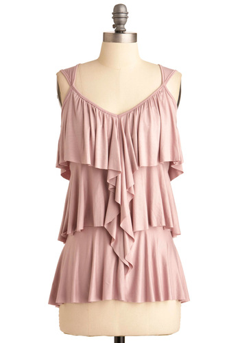 Ruffling It Top in Lilac - Pink, Solid, Ruffles, Tiered, Casual, Tank top (2 thick straps), Mid-length