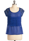 Cobalt-ic Coastline Top - Mid-length, Blue, Solid, Party, Short Sleeves, Crochet, Pleats