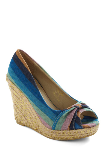 Aqua Ocean Wedge - Multi, Stripes, Woven, Blue, Pink, Wedge