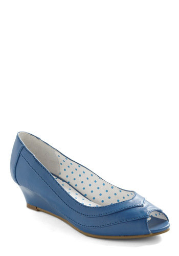 Walk About It Wedge by Bait Footwear - Blue, Solid, Work, Wedge, Peep Toe, Low