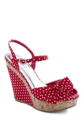Forever Friday Wedge - Red, White, Polka Dots, Bows, Party, Wedge
