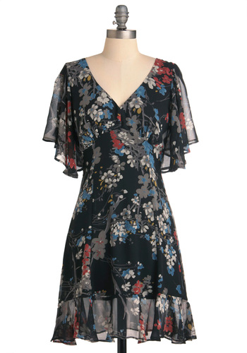 Dance 'Til Dusk Dress - Mid-length, Casual, Red, Yellow, Blue, Grey, Floral, Ruffles, Black, Shift, Short Sleeves