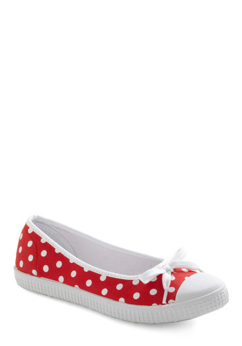 It's Been a Slice Flat - Red, White, Polka Dots, Bows, Casual