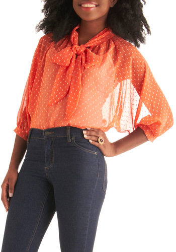 Sheer and Tell Top - Mid-length, Orange, White, Polka Dots, Embroidery, Work, Vintage Inspired, 60s, Long Sleeve