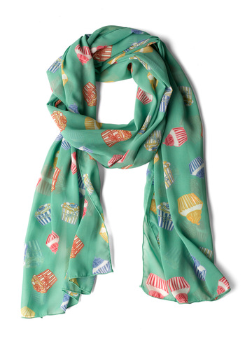 Peace of Cake Scarf - Green, Red, Orange, Yellow, Blue, Pink, White, Novelty Print, Casual