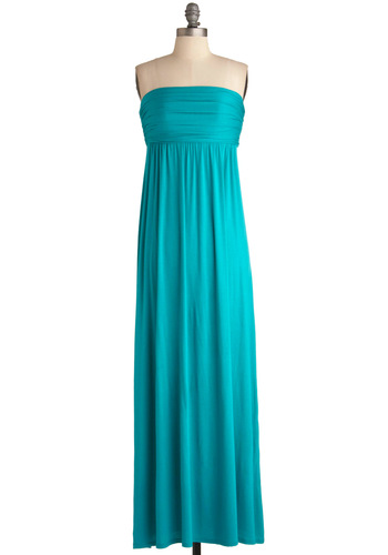 Sweeping Breeze Dress - Long, Blue, Solid, Maxi, Strapless, Casual, Summer, Spring, Beach/Resort, Basic