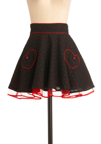 Heart to Art Skirt - Short, Black, Red, Pockets, Party, Vintage Inspired, Ballerina / Tutu, Epaulets, Tiered