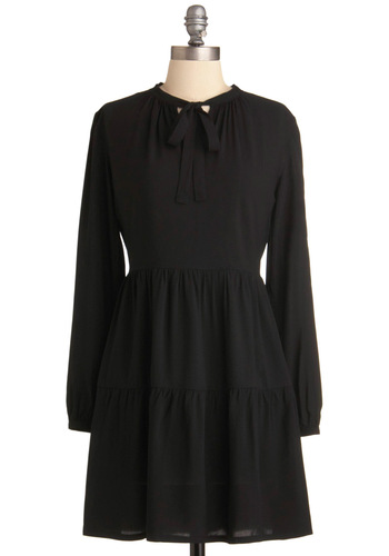 Slate Plains Dress - Mid-length, Black, Solid, Long Sleeve, Casual, A-line, Tie Neck
