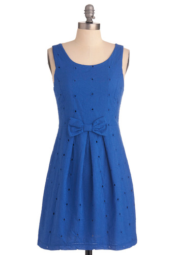 Just for Blue Dress - Short, Blue, Floral, Bows, Eyelet, Tank top (2 thick straps), Vintage Inspired, Party, Mini, Spring