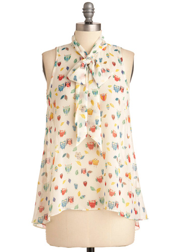 Cute Do You Do Top in Owls - Mid-length, Print with Animals, Sleeveless, Multi, Tan / Cream, Owls, Tie Neck, Sheer